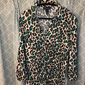 Sparkly Teal Leopard INC Blouse women extra large
